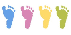 60215751 - baby foot prints pastel color vector background