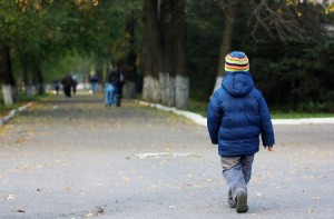 12183239 - little boy walking away in the autumn park