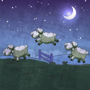 25929655 - three sheep jumping over the fence. count them to sleep.